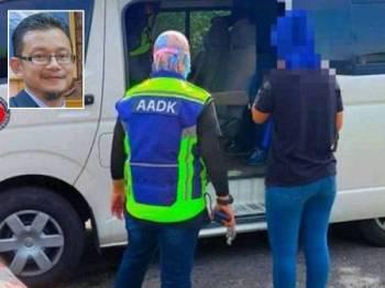 (Gambar hiasan) Anggota AADK akan menggunakan kenderaan jabatan setiap kali turun ke lokasi hasil aduan awam dan akan mengenakan baju vest yang tertera AADK. - Gambar kecil: Rosland Hussen