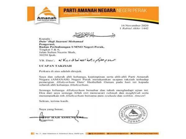 Amanah Perak mengutus surat ucapan takziah kepada UMNO Perak hari ini.