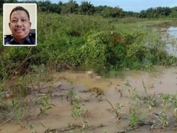 Keadaan mayat terapung yang ditemui dekat Sungai Sidam berdekatan Kampung Lesung Tujuh, Padang Serai Kulim hari ini. Gambar kecil: Azhar