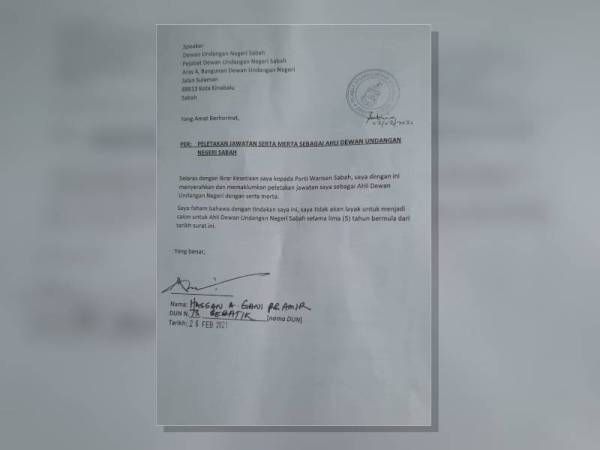 Surat peletakan jawatan ADUN Sebatik, Hassan A Gani Pg Amir.
