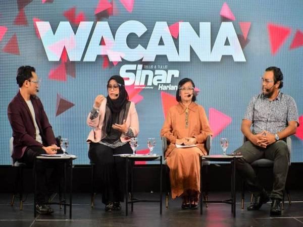 Dari kiri; Ismail Adnan, Mas Ermieyati, Maria Chin dan Dr Mohd Azizuddin pada Wacana siri ke-243 membincangkan topik Tangguh Undi 18: Hak Belia Diketepi. - FOTO SINAR HARIAN / ASRIL ASWANDI SHUKOR.