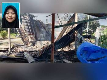 Keadaan rumah Alia di Kampung Kalipuon, Pitas, Sabah yang musnah dalam kebakaran pada Rabu. Gambar kecil: Nur Alia Fitri