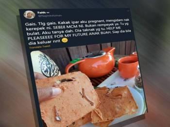 Saidatul Najmin meminta bantuan warganet menerusi laman sosial untuk mencari kerepek manchor kerana kakak iparnya mengidam.