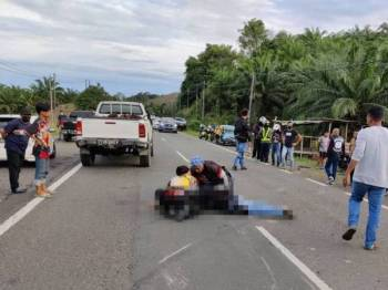 Mangsa disahkan meninggal dunia di lokasi kejadian akibat kecederaan parah di bahagian kepala selepas terbabit dalam kemalangan di Kilometer 28 Jalan Lahad Datu-Tawau, Lahad Datu.