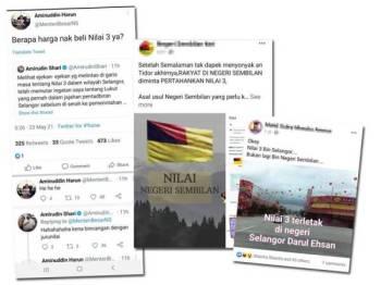 Gambar kiri:Tweet antara Menteri Besar Negeri Sembilan dan Menteri Besar Selangor. Antara bahan yang dimuat naik oleh netizen di media sosial.