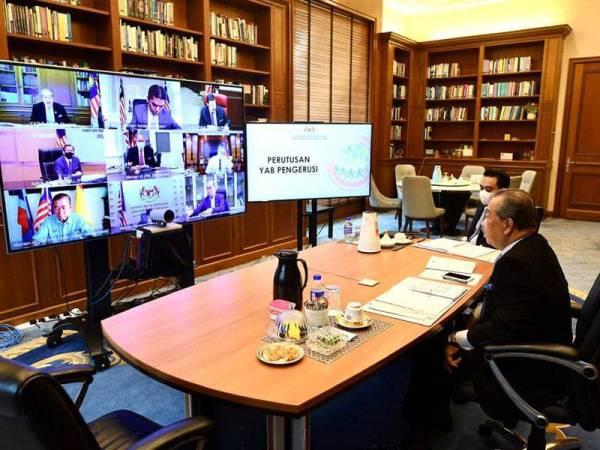Muhyiddin mempengerusikan mesyuarat pertama MySPC secara sidang video pada Selasa. Foto: FB Muhyiddin