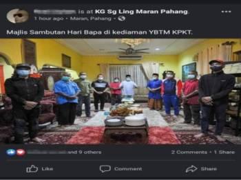 Gambar Ismail mengadakan majlis sambutan Hari Bapa yang ditular di laman sosial pada Isnin.