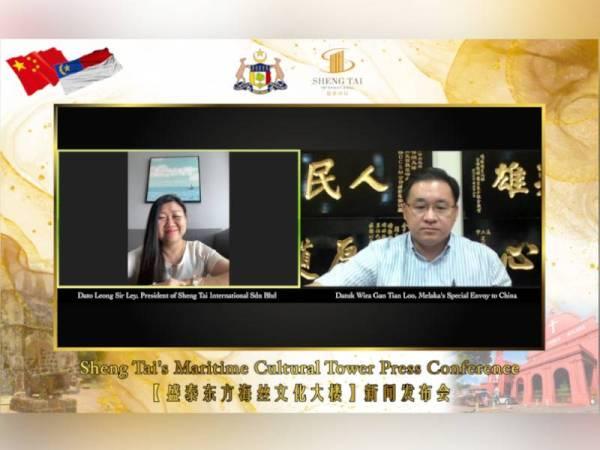 Pengasas dan Pengerusi Sheng Tai International, Datuk Leong Sir Ley (kiri) dan Utusan Khas Melaka ke China, Datuk Wira Gan Tian Loo.