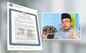 Ciapan Mufti Perlis, Profesor Madya Datuk Dr Mohd Asri Zainul Abidin melalui akaun Twitter @realDrMAZA berkaitan keputusan Mesyuarat Jawatankuasa Fatwa Negeri Perlis Kali ke-54 pada Jumaat.Gambar kanan : Profesor Datuk Dr Mohd Asri Zainul Abidin