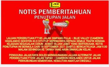Notis pemberitahuan penutupan jalan. - Foto FB JKR Daerah Kinta.