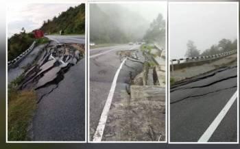 Keadaan Jalan Simpang Pulai - Cameron Highlands yang runtuh dalam kejadian pada Sabtu. - Foto ihsan pembaca