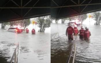 Mangsa dilaporkan berjaya menyelamatkan diri setelah keluar daripada kenderaan yang terkandas dalam banjir setinggi empat kaki.